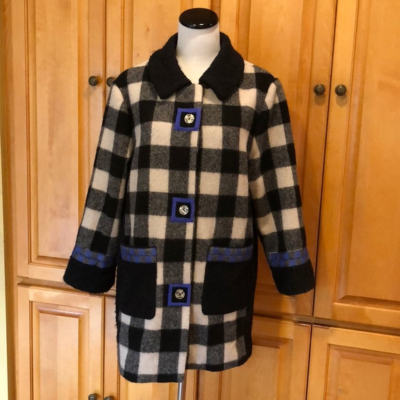 Canvasbacks Jackets & Blazers - Canvasbacks Wool Coat Jacket Black and White Check